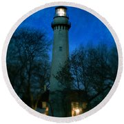 Grosse Point Lighthouse Before Dawn Round Beach Towel