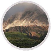 Growing Lava Dome Of Soufriere Hills Round Beach Towel
