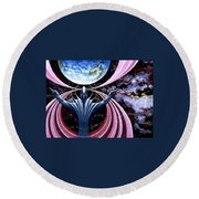 Round Beach Towel featuring the painting Guardian Angel by Hartmut Jager