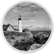 Guarding Ship Safety Bw Round Beach Towel