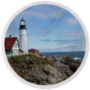 Guarding Ship Safety Round Beach Towel