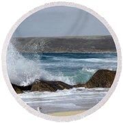 Round Beach Towel featuring the photograph Gull On The Sand by Linsey Williams
