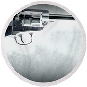 Round Beach Towel featuring the photograph Guns And Leather 3 by Deniece Platt
