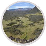 Haleakal Crater And View Round Beach Towel