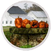 Round Beach Towel featuring the photograph Halloween Scene by Lainie Wrightson