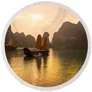 Round Beach Towel featuring the photograph Halong Bay - Vietnam by Luciano Mortula