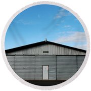 Round Beach Towel featuring the photograph Hangar 2 The Building by Kathleen Grace