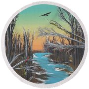 Round Beach Towel featuring the painting Happy Day by Alys Caviness-Gober