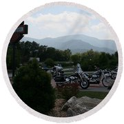 Round Beach Towel featuring the photograph Harleys On The Mountain by Karen Harrison
