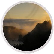 Harris Beach Sunset Panorama Round Beach Towel by Mick Anderson