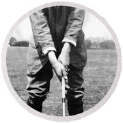 Round Beach Towel featuring the photograph Harry Vardon Displays His Overlap Grip by International  Images