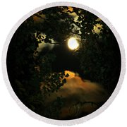 Round Beach Towel featuring the photograph Haunting Moon by Jeanette C Landstrom