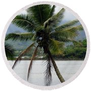 Round Beach Towel featuring the photograph Hawaiian Palm by Athena Mckinzie