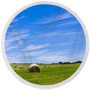 Hay Bales Under Brilliant Blue Sky Round Beach Towel
