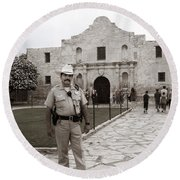 Round Beach Towel featuring the photograph He Guards The Alamo by Lorraine Devon Wilke