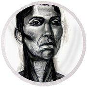 Round Beach Towel featuring the drawing Head Study by Gabrielle Wilson-Sealy