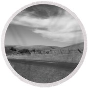 Round Beach Towel featuring the photograph Heading Inland by Kathleen Grace