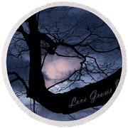 Heart In Tree Love Grows Within  Round Beach Towel