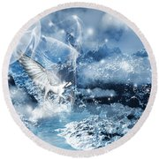 Heavenly Interlude Round Beach Towel by Lourry Legarde