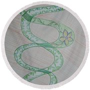 Round Beach Towel featuring the painting Helix  by Sonali Gangane