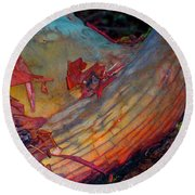 Round Beach Towel featuring the digital art Here And Now by Richard Laeton