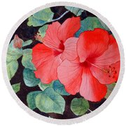 Round Beach Towel featuring the painting Hibiscus by Laurel Best