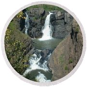 Round Beach Towel featuring the photograph High Falls Grand Portage by Bonfire Photography