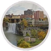 Round Beach Towel featuring the photograph High Falls Panorama by William Norton