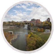 Round Beach Towel featuring the photograph High Falls by William Norton