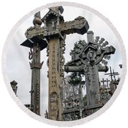 Hill Of Crosses 09. Lithuania Round Beach Towel by Ausra Huntington nee Paulauskaite
