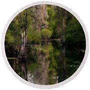 Round Beach Towel featuring the photograph Hillsborough River In March by Steven Sparks