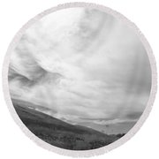 Round Beach Towel featuring the photograph Hillside Meets Sky by Kathleen Grace