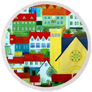 Hillside Village Round Beach Towel