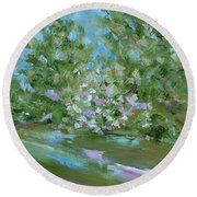 Round Beach Towel featuring the painting Hilltop by Judith Rhue