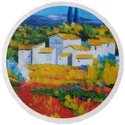 Hilltop Village Round Beach Towel