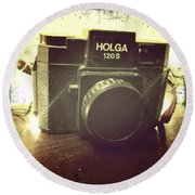 Round Beach Towel featuring the photograph Holga by Nina Prommer