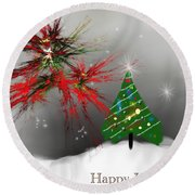 Holiday Card 2011a Round Beach Towel