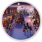 Holiday Shopper Ants Round Beach Towel