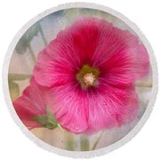 Hollyhock Round Beach Towel by Lena Auxier