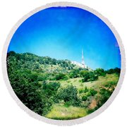 Round Beach Towel featuring the photograph Hollywood by Nina Prommer