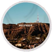 Hollywood Sign At Sunset Round Beach Towel