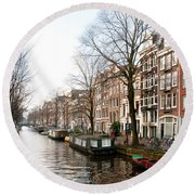 Homes Along The Canal In Amsterdam Round Beach Towel by Carol Ailles