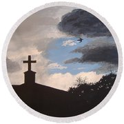 Round Beach Towel featuring the painting Hope In The Storm by Norm Starks