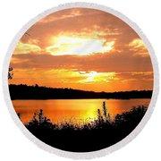 Horn Pond Sunset 2 Round Beach Towel