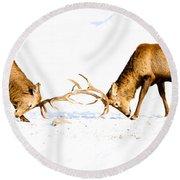 Horns A Plenty Round Beach Towel by Cheryl Baxter