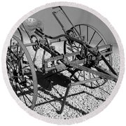 Horse Drawn Plow Round Beach Towel