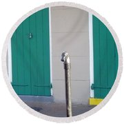 Round Beach Towel featuring the photograph Horse Head Post With Green Doors by Alys Caviness-Gober