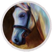 Horse Of Colour Round Beach Towel