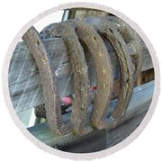 Horse Shoes Round Beach Towel by Kerri Mortenson