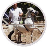 Horse Training Round Beach Towel